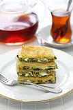 homemade su borek, feta cheese and parsley, turkish cuisine