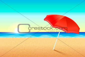 Beautiful vector beach. Sunset or dawn on the coast of the sea. A red umbrella stands in the sand. The sun sets over the ocean. Background for the flyer, leaflets, invitations to the beach party. Summer backdrop for banner.