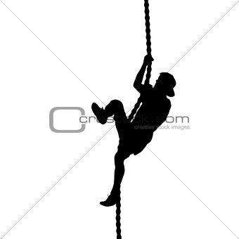 Black silhouette Mountain climber climbing a tightrope up on hands