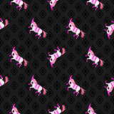 Dark horse black and pink seamless vector pattern.