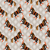 Dark horse grey and orange seamless vector pattern.