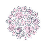 Floral rosette vector isolated composition.