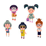 Cute girls vector cartoon set.
