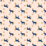 Horse and horseshoe seamless peach color pattern.