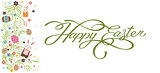 Banner inscription, hand lettering, calligraphy, typography Happy Easter bunny white background