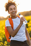 Mixed Race African American Girl Teenager Hiking Drinking Water