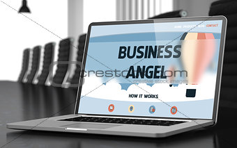 Business Angel on Laptop in Conference Room. 3d