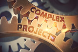 Golden Gears with Complex Projects Concept. 3D Illustration.