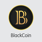 Blackcoin - Blockchain Cryptocurrency Graphic Symbol.