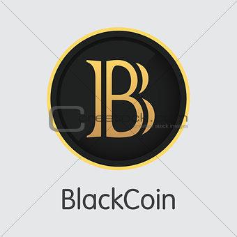Blackcoin - Blockchain Cryptocurrency Graphic Symbol.