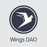 Wings Dao - Cryptographic Currency Symbol.
