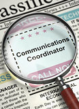 Communications Coordinator Job Vacancy. 3D.