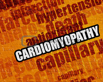 Modern medical concept: Cardiomyopathy on Yellow Brickwall .