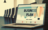 Laptop Screen with Business Plan Concept. 3d