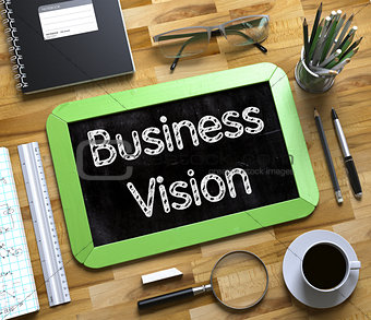 Business Vision - Text on Small Chalkboard. 3d