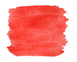 Watercolor red background isolated.