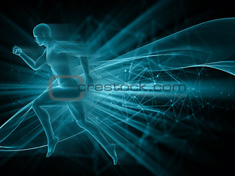 3D male figure running on abstract techno background