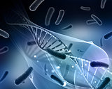 3D medical background with virus cells and DNA strand