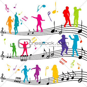 Abstract music note with silhouettes of kids dancing