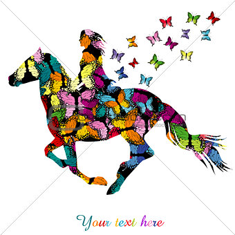 Abstract woman riding a horse and butterflies flying