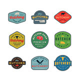 set of vintage butchery logos. retro styled meat shop emblems. vector illustration