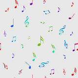 Colorful Seamless background with notes, vector illustration. seamles