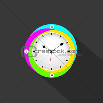 Clock flat icon. World time concept. Business background. Internet marketing. colorful clock