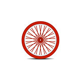 Bicycle wheel in red design with shadow
