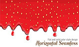 Realistic drips of strawberry jam with flat and solid color design on white background. Vector Flowing syrup.