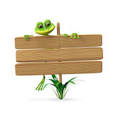 3D Illustration Frog with Wooden Plaque