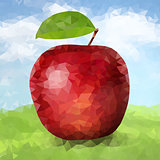 Vector red polygonal apple
