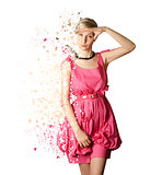 Woman in pink dress isolated on white background