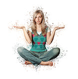 Woman in lotus pose with collapsing triangles