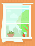 open window with summer landscape. succulent plant on pot, apple on windowsill