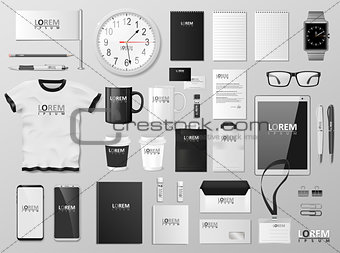 Corporate Branding identity template design. Modern Stationery mockup black and white color. Business style stationery and documentation. Vector illustration