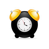 Black alarm clock on white background with gold bells.