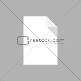 A blank white sheet of paper with a curved edge, isolated.