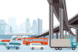 Road traffic in the city with elevated train, illustration