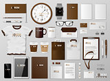 Corporate Branding identity template brown design. Modern realistic Stationery mockup. Business style stationery and documentation. Vector illustration
