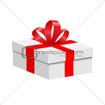 A box with a red ribbon and a bow