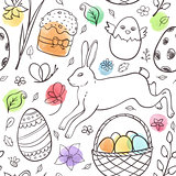 Hand drawn Easter pattern with rabbit