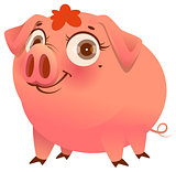 Pretty pink pig isolated on white cartoon illustration