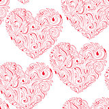 Vector Seamless Pattern with Hearts