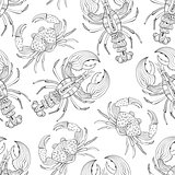 Vector Seamless Pattern with Lobsters and Crabs
