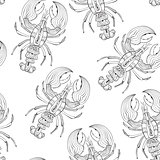 Vector Seamless Pattern with Lobsters