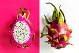 A ripe pitahaya (dragon fruit)