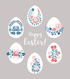 Easter eggs with floral decoration