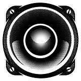 stylish vector monochrome detailed illustration with speaker