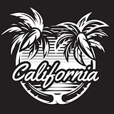 Monochrome pattern with two palm trees and coast. Vector illustration