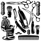 vector monochrome set of accessories and tools in barber shop